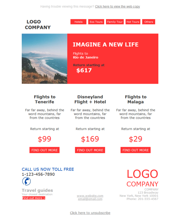 Templates Emailing Travel Agency Sarbacane