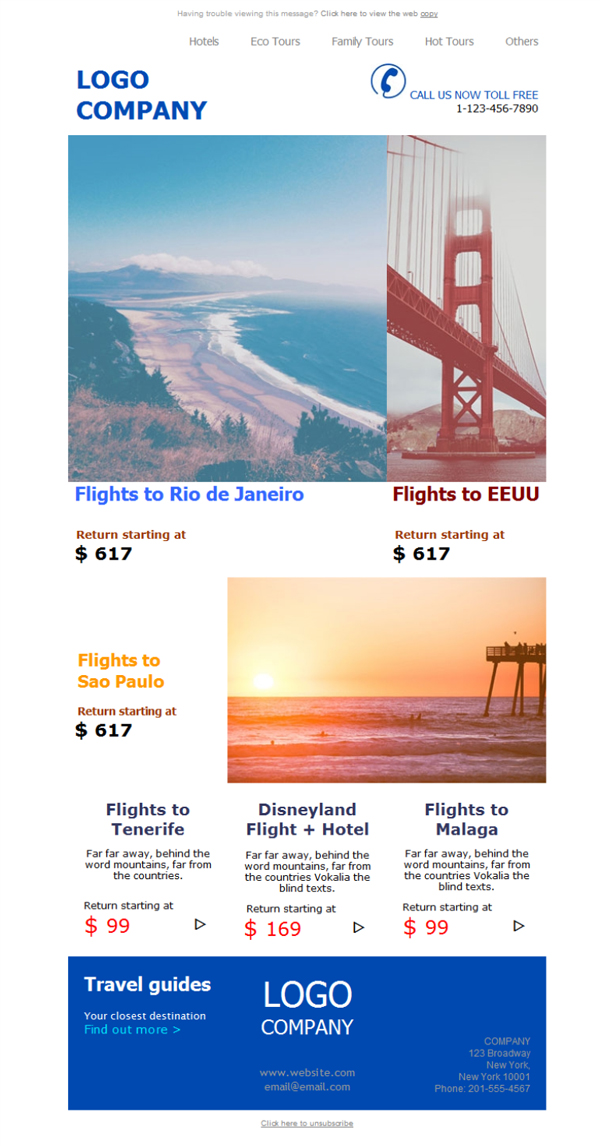 Templates Emailing Travel Agency Flights Sarbacane