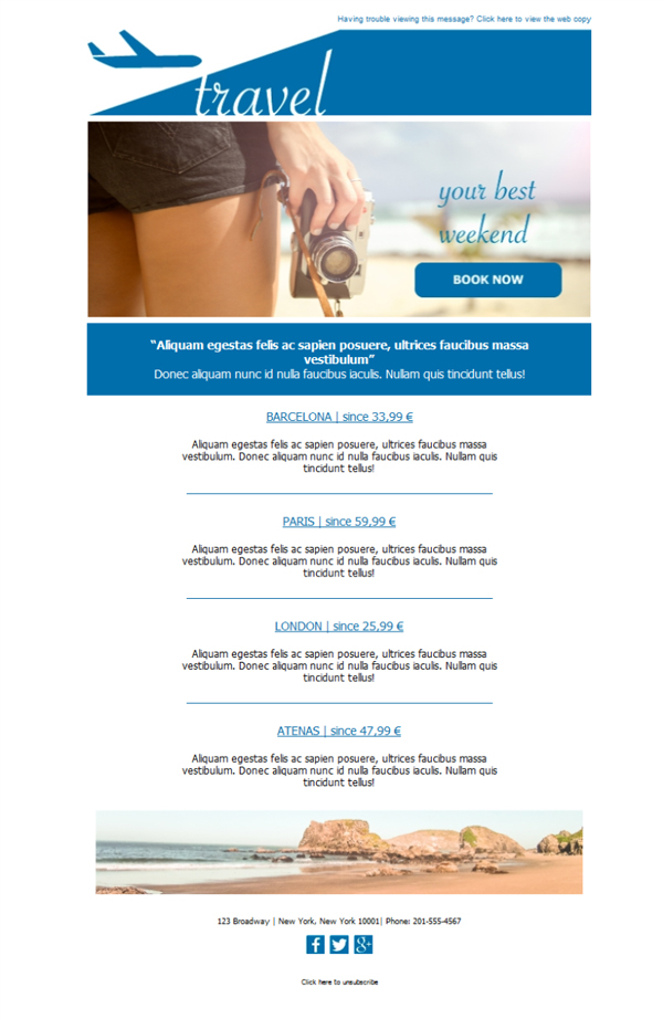 Templates Emailing Travel Agency Newsletter Sarbacane