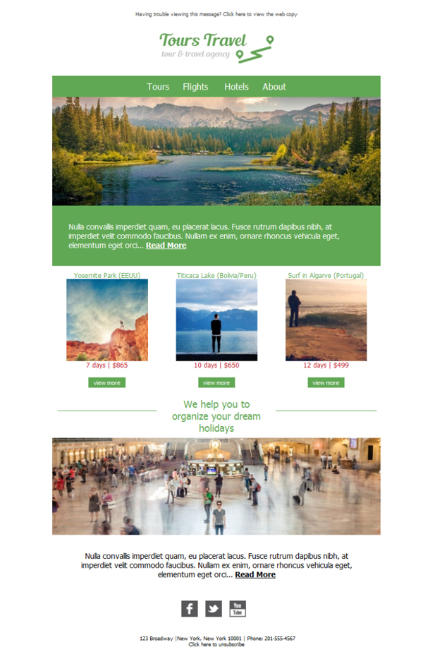 Templates Emailing Travel Agency Tours Sarbacane