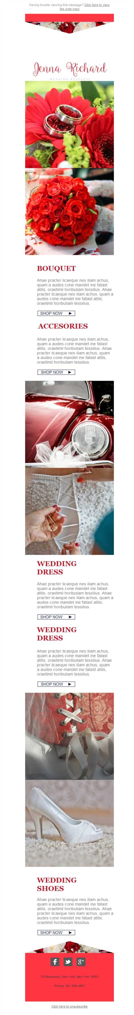 Templates Emailing Wedding Boutique Sarbacane