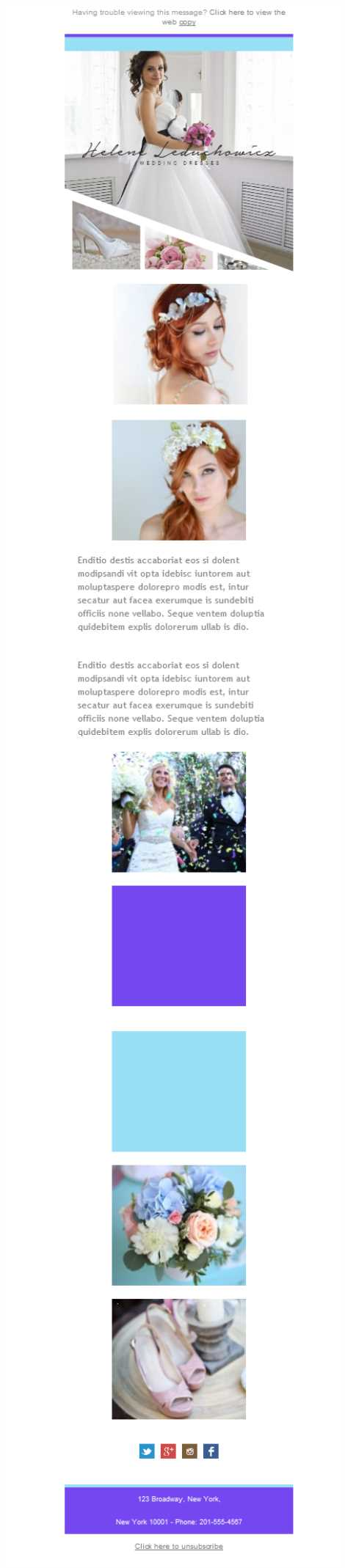 Templates Emailing Wedding Dress Sarbacane