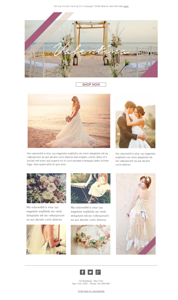 Templates Emailing Wedding Dresses Sarbacane