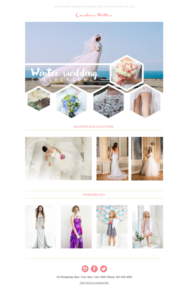 Templates Emailing Wedding Winter Bride Sarbacane