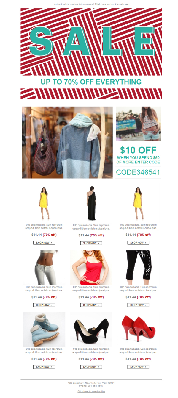 Templates Emailing Womens Clothing Sale Sarbacane