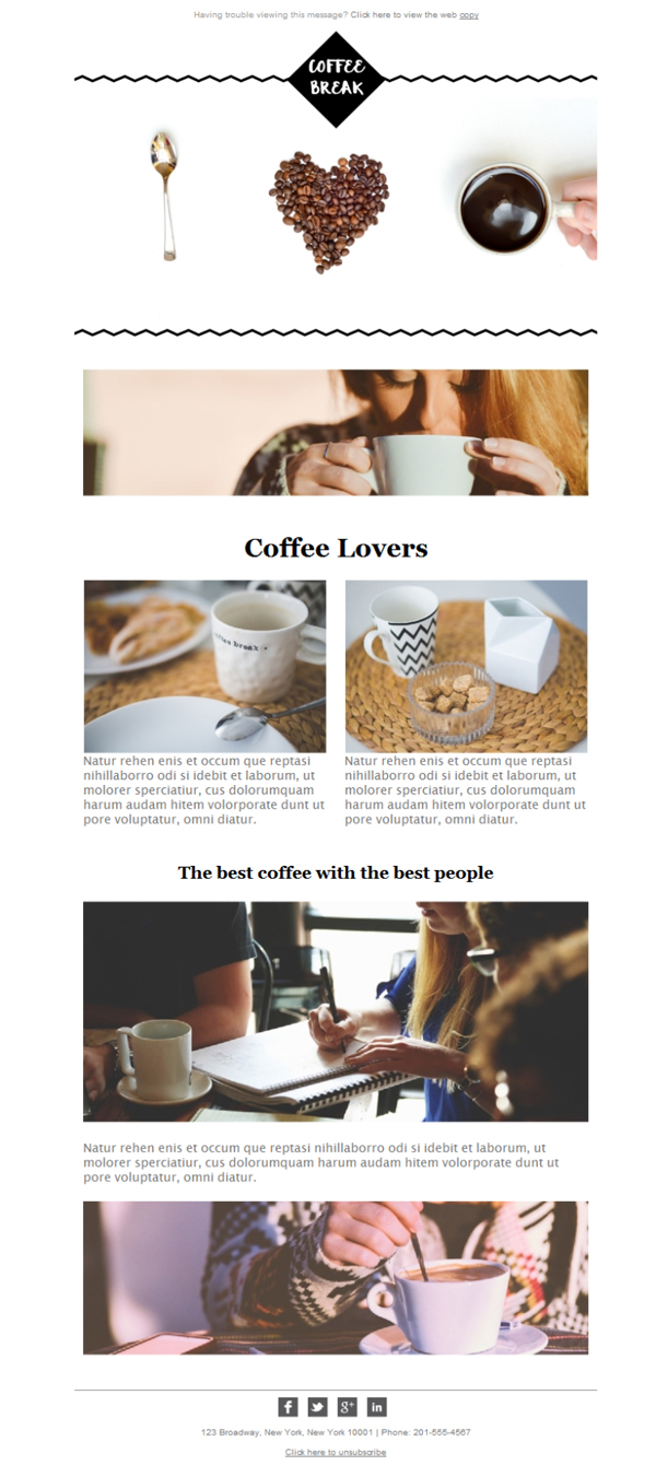 Templates Emailing Coffee Shop Coffee Break Sarbacane