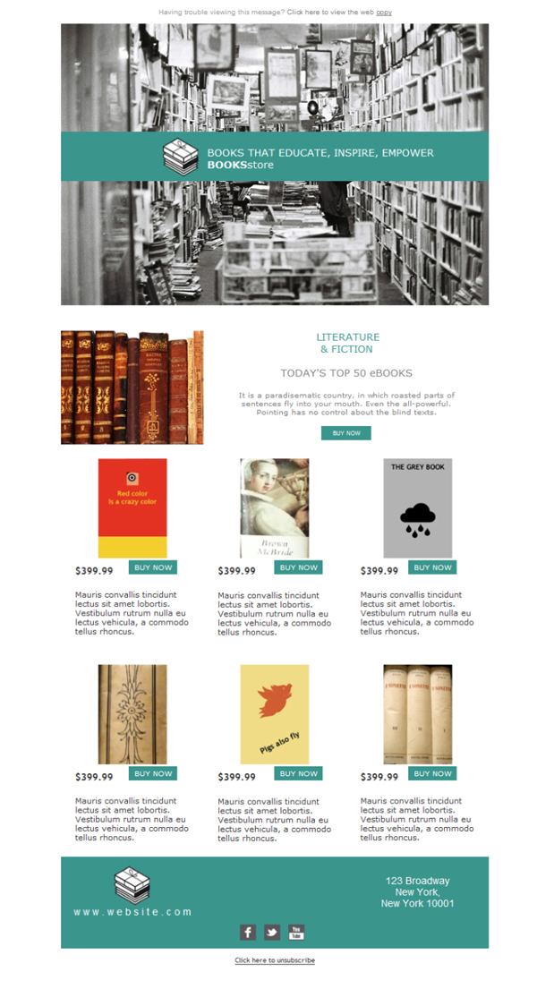 Templates Emailing Bookstore Shop Sarbacane