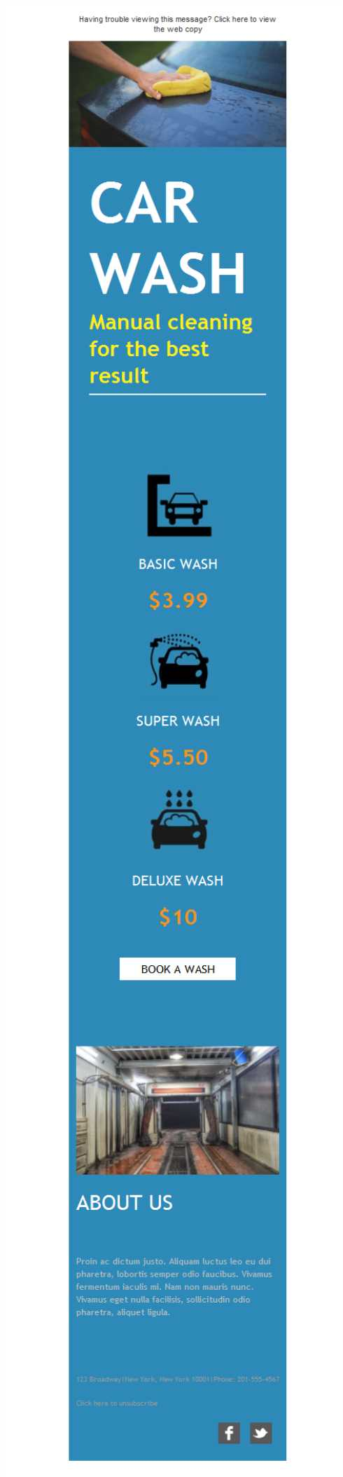 Templates Emailing Car Wash Service Sarbacane
