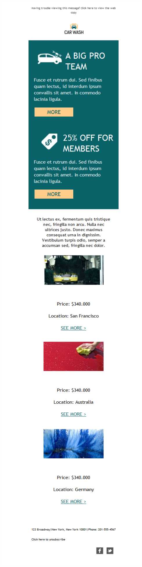 Templates Emailing Car Wash Promo Sarbacane