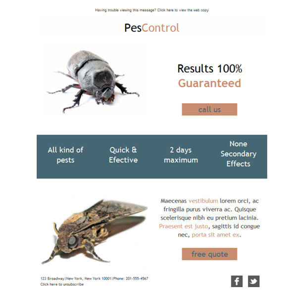 Free email templates - Download design Exterminator Pest Control