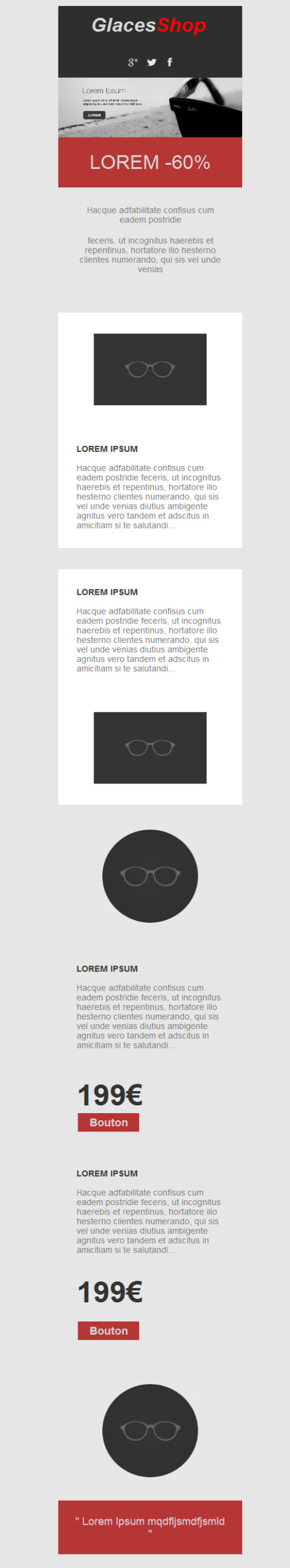 Templates Emailing Glasses Shop Sarbacane