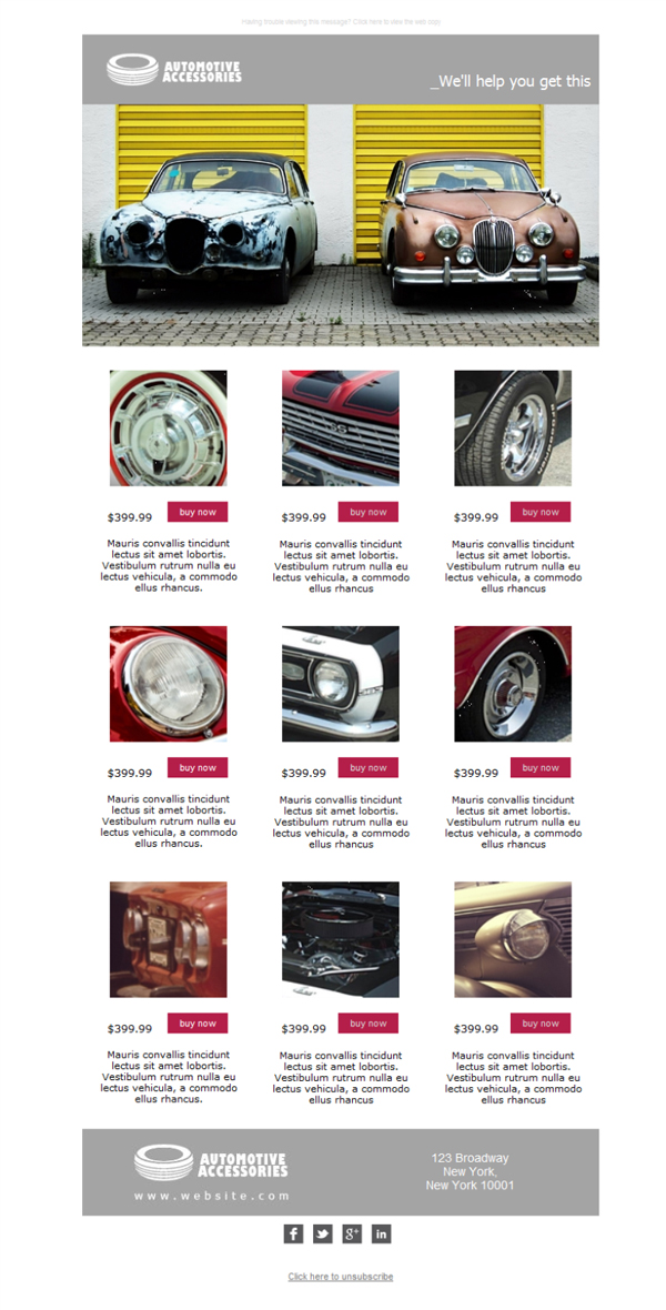 Free Email Templates Download Design Auto Parts New