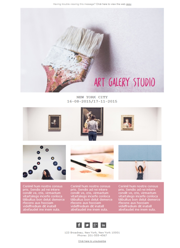 Free email templates - Download design Art Gallery Studio