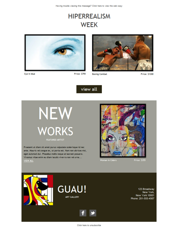 Free email templates - Download design Art Gallery Artist