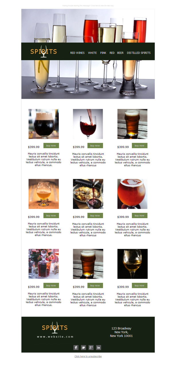4 free and professional newsletter templates for beer wine. Black Bedroom Furniture Sets. Home Design Ideas