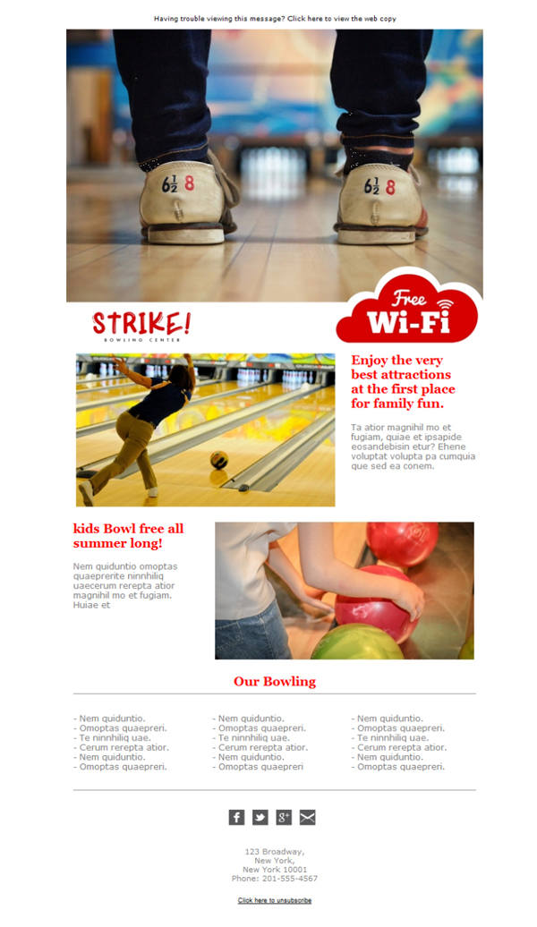 Templates Emailing Bowling Alley Strike Sarbacane