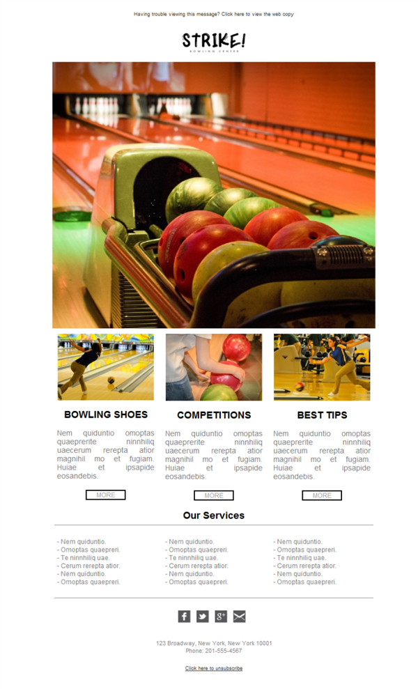 Templates Emailing Bowling Alley Competition Sarbacane