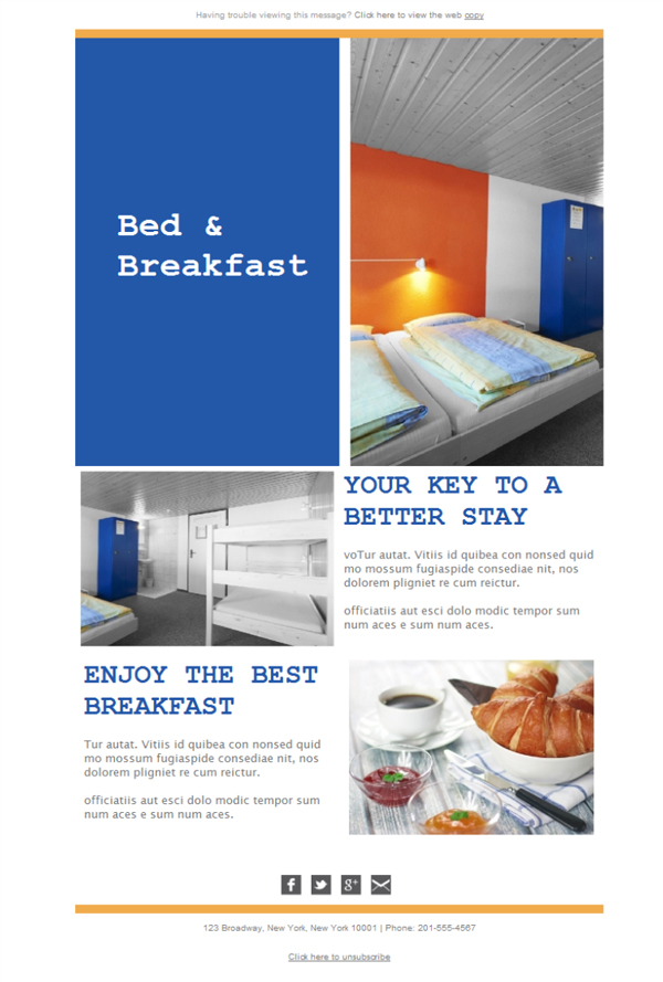 Templates Emailing Bed Breakfast Stay Sarbacane