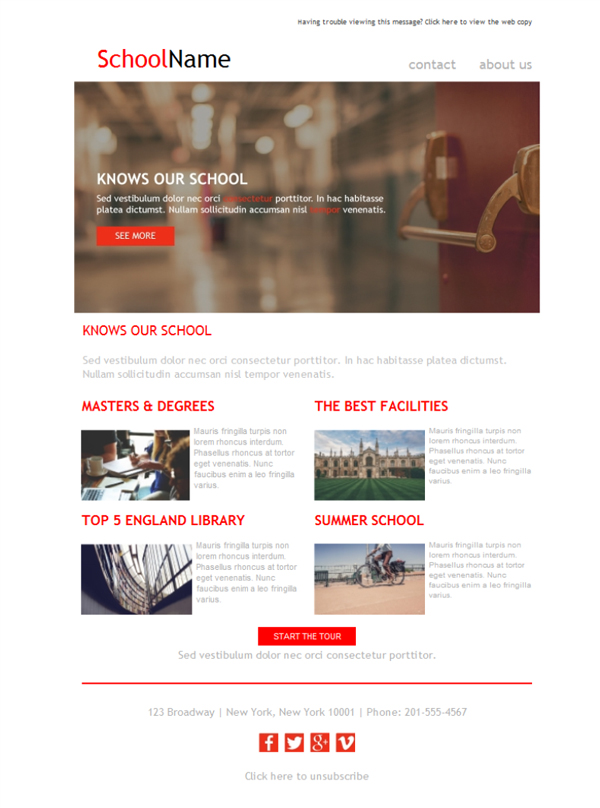 free email templates download design university college