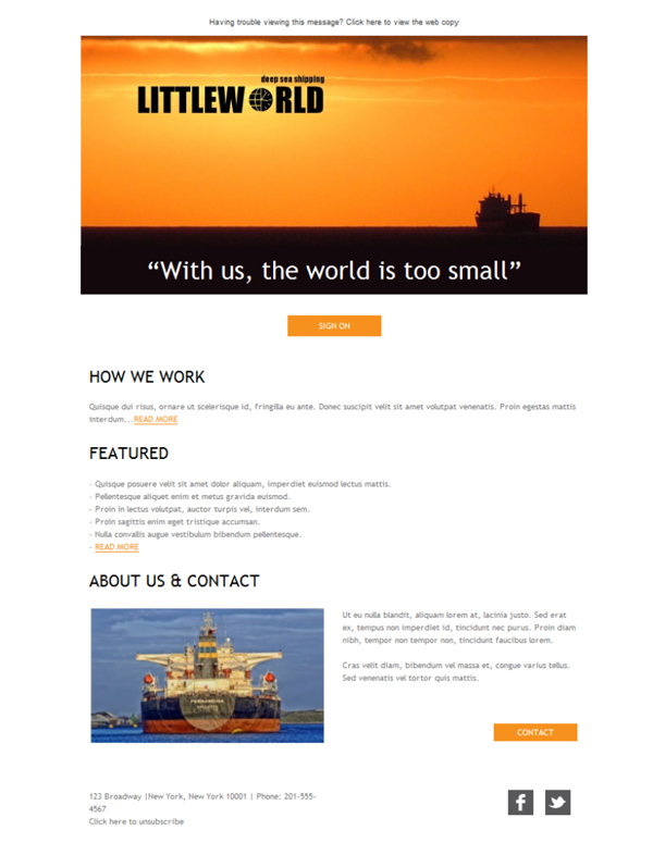 Templates Emailing Freight Ocean Transport Sarbacane