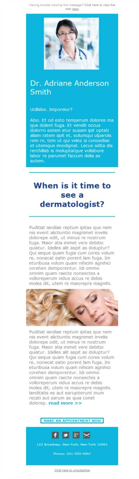 Templates Emailing Dermatologist Doctor Sarbacane