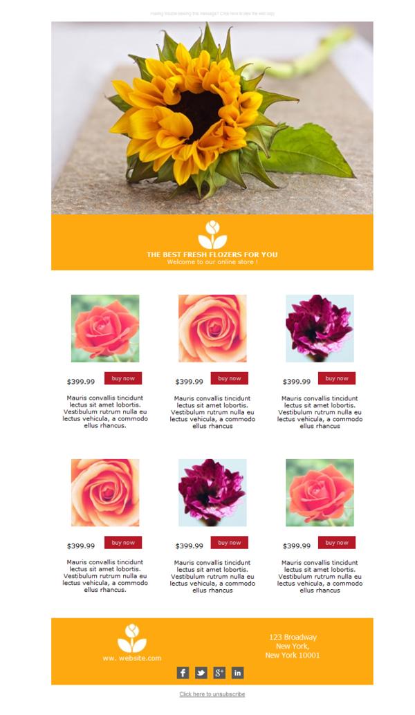 Free Email Templates Download Design Florist Summer - Summer newsletter template