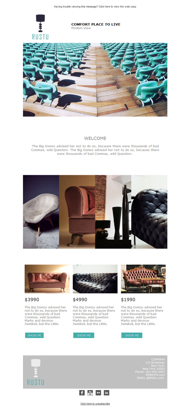 Templates Emailing Furniture Vintage Sarbacane