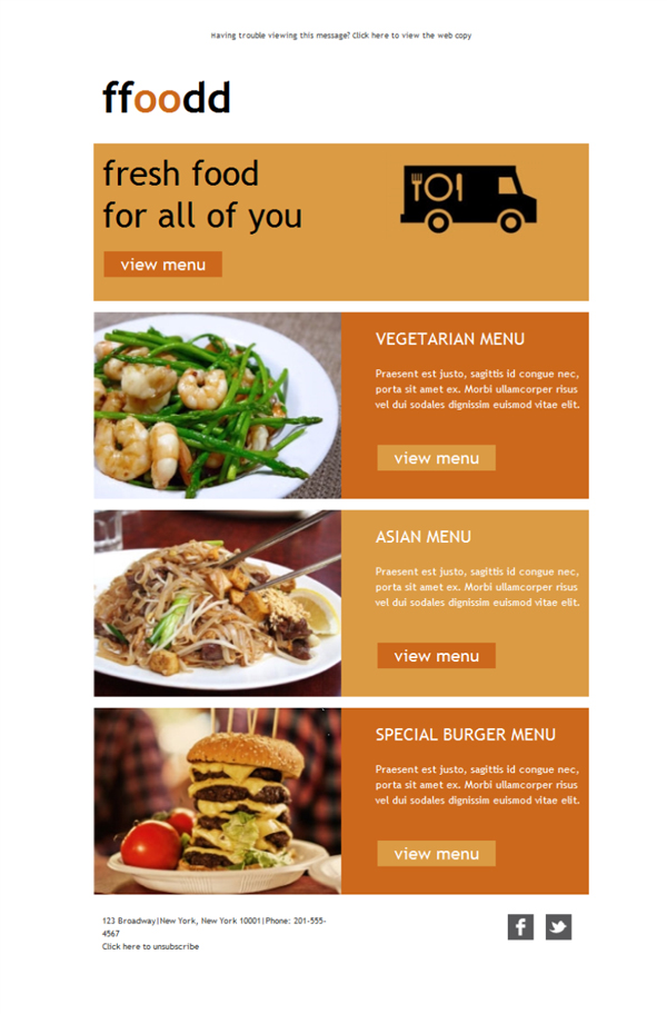 Templates Emailing Fresh Food Menu Sarbacane