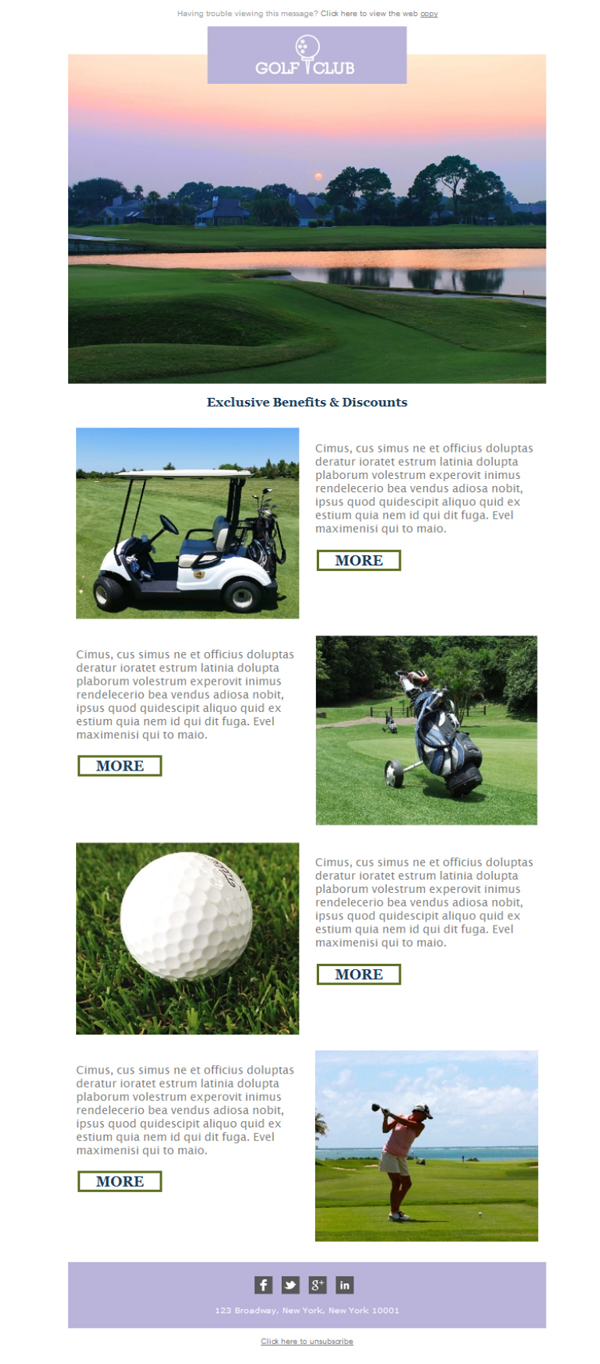 Kostenlose Newsletter-Vorlagen   Laden Sie Golf Club
