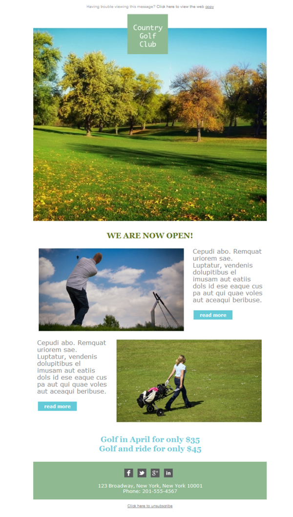 Templates Emailing Golf Country Club Sarbacane