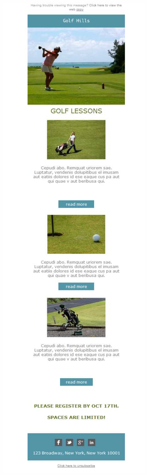 Templates Emailing Golf Hills Course Sarbacane