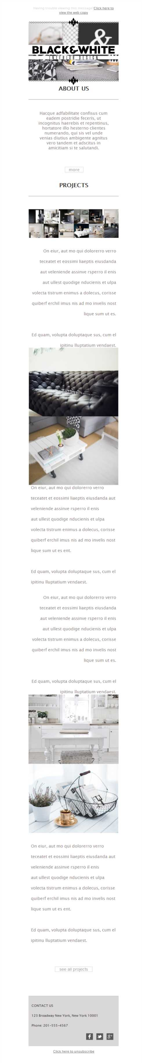 Free Newsletter Template Interior Design Project