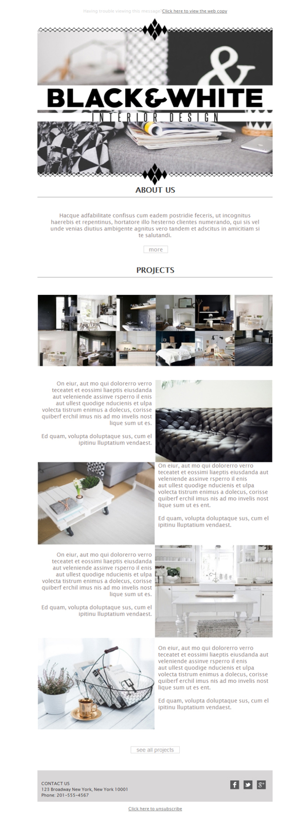 Free email templates - Download design Interior Design Project