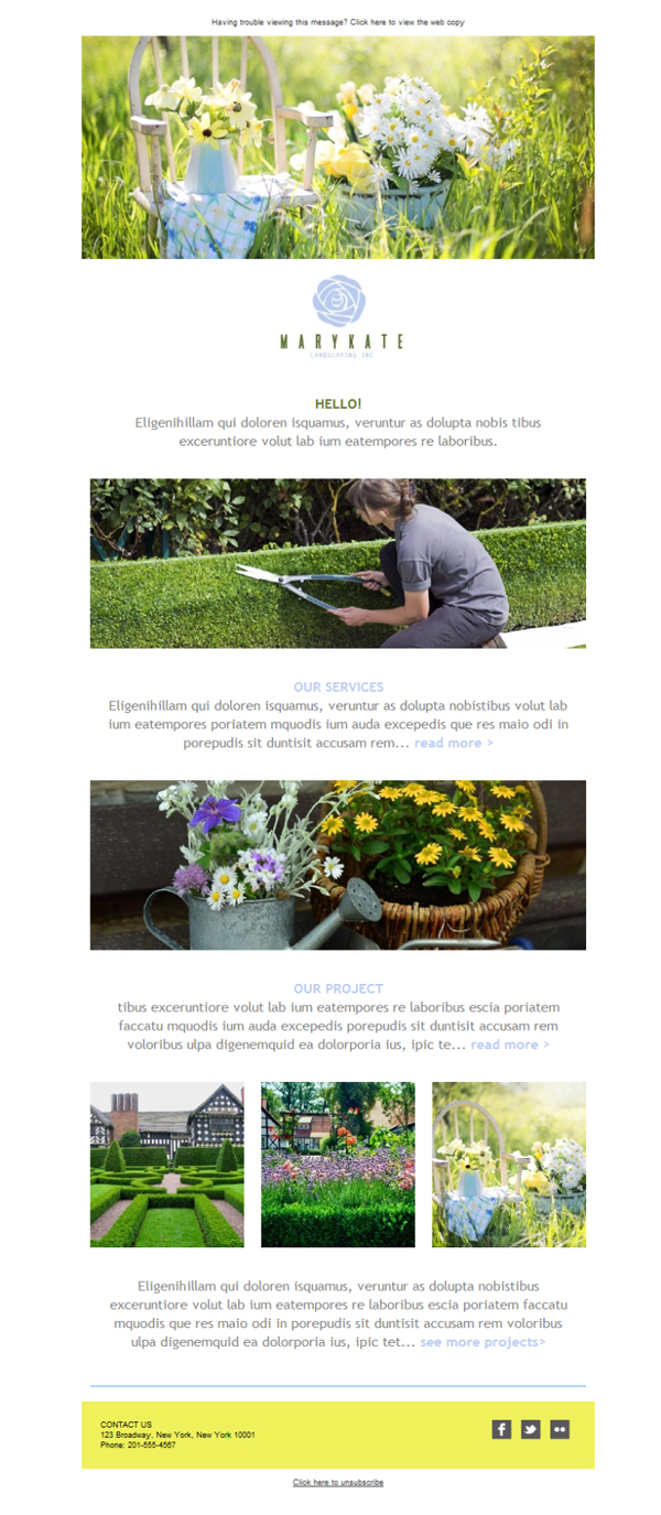 Templates Emailing Landscaping Service Sarbacane