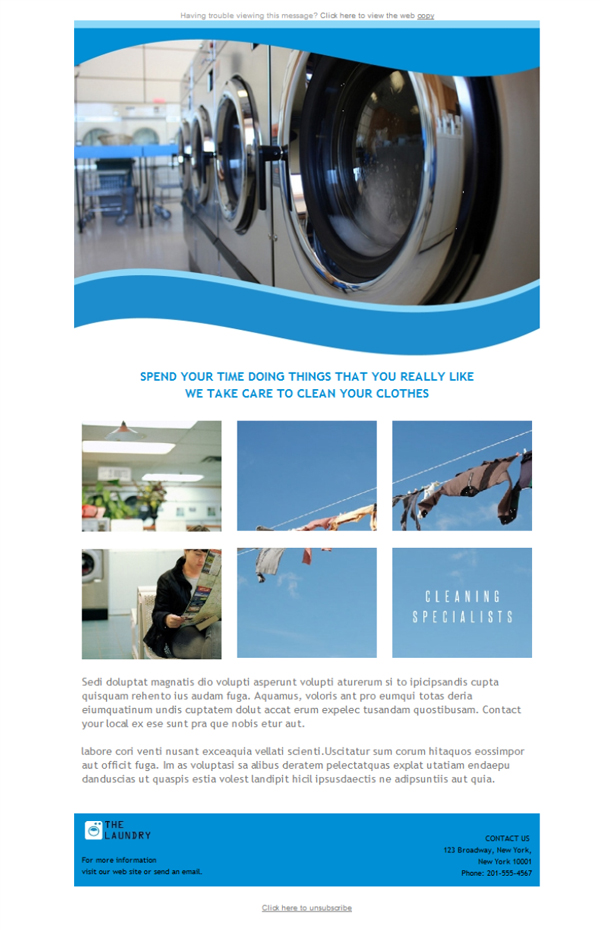 Templates Emailing Laundry Dry Cleaning Sarbacane