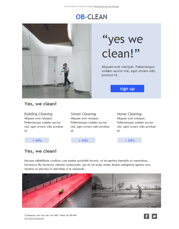 Templates Emailing Janitorial Carpet Cleaner Sarbacane