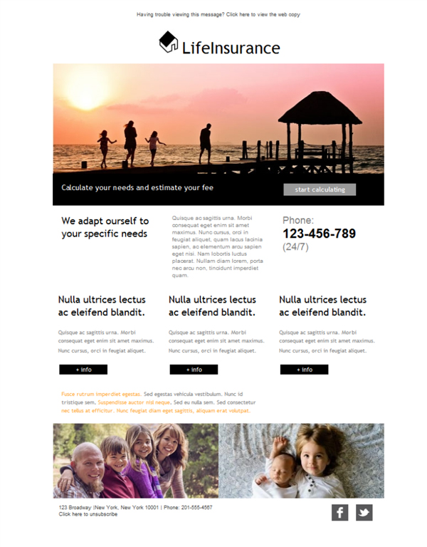 life insurance email template  Free email templates - Download design Life Insurance Home