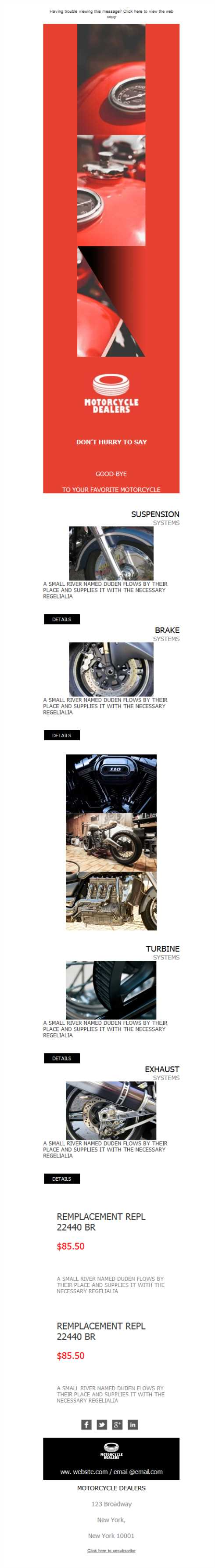 Templates Emailing Motorcycle Luxury Sarbacane