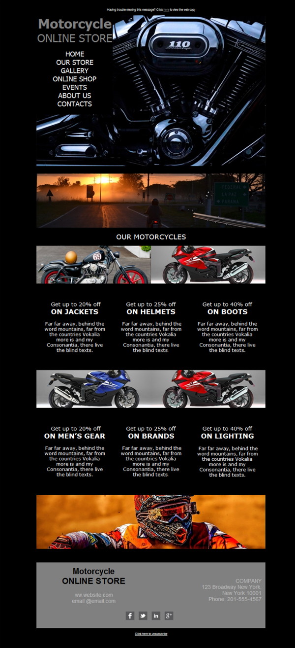 free email templates download design motorcycle dealer race. Black Bedroom Furniture Sets. Home Design Ideas