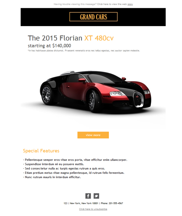 6 free and professional newsletter templates for luxury automobile ...