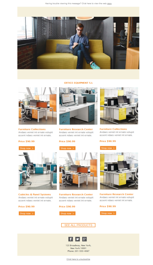 Free Email Templates Download Design Office Equipment Furniture