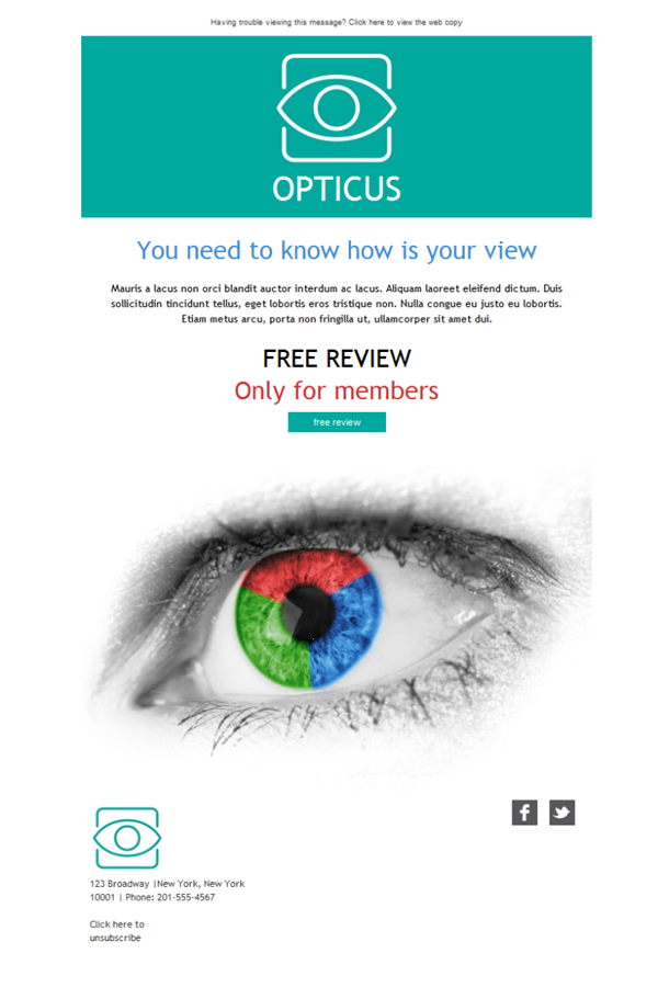 Templates Emailing Optometrist View Doctor Sarbacane