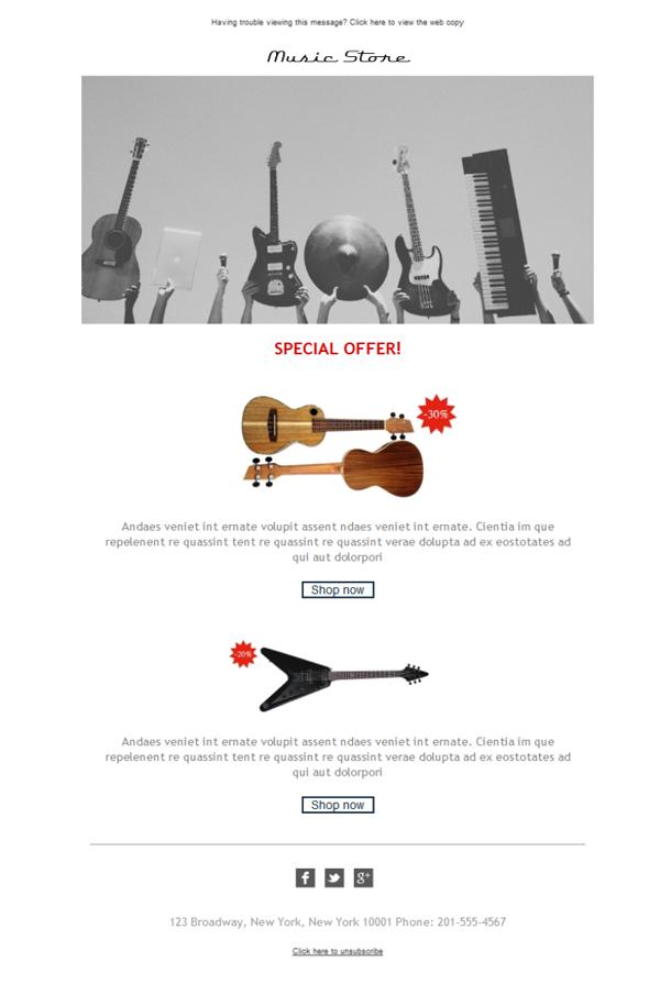 template emailing gratuit t l chargez le mod le music instrument store. Black Bedroom Furniture Sets. Home Design Ideas