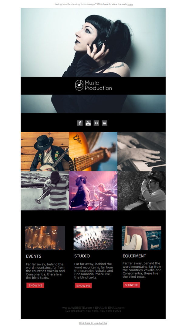 Templates Emailing Music Production Events Sarbacane