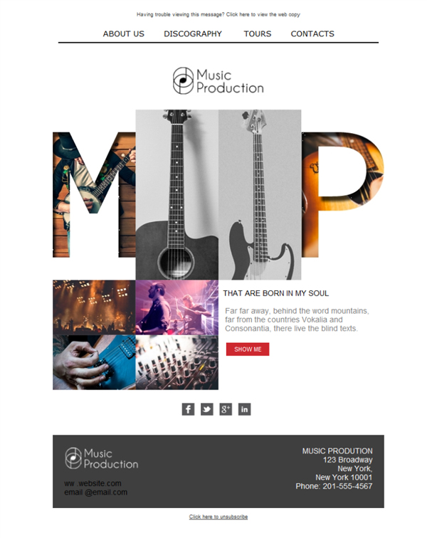 Free email templates - Download design Music Production Studio