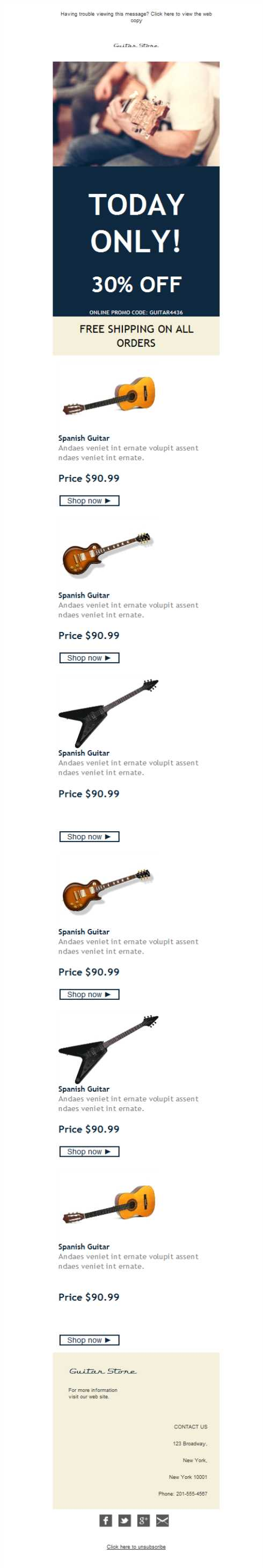 Templates Emailing Music Instruments Sale Sarbacane