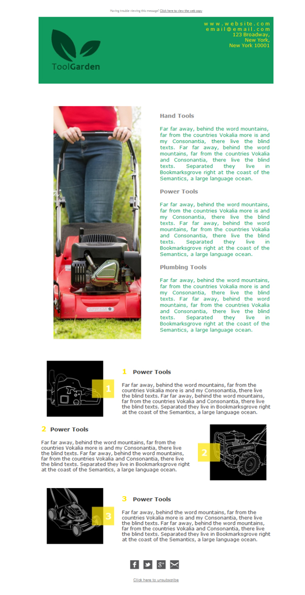 Templates Emailing Tools Lawn Garden Sarbacane