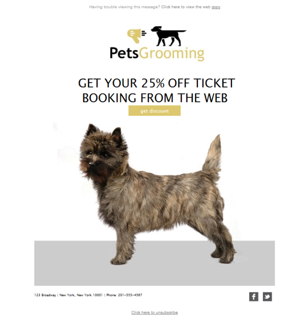 Templates Emailing Pet Grooming Offer Sarbacane