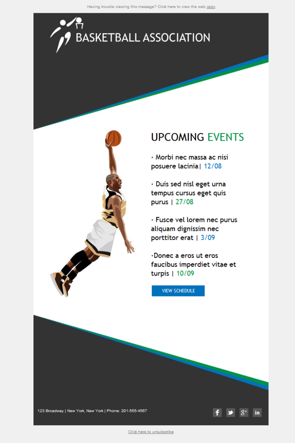 Templates Emailing Sports Teams Basketball Sarbacane
