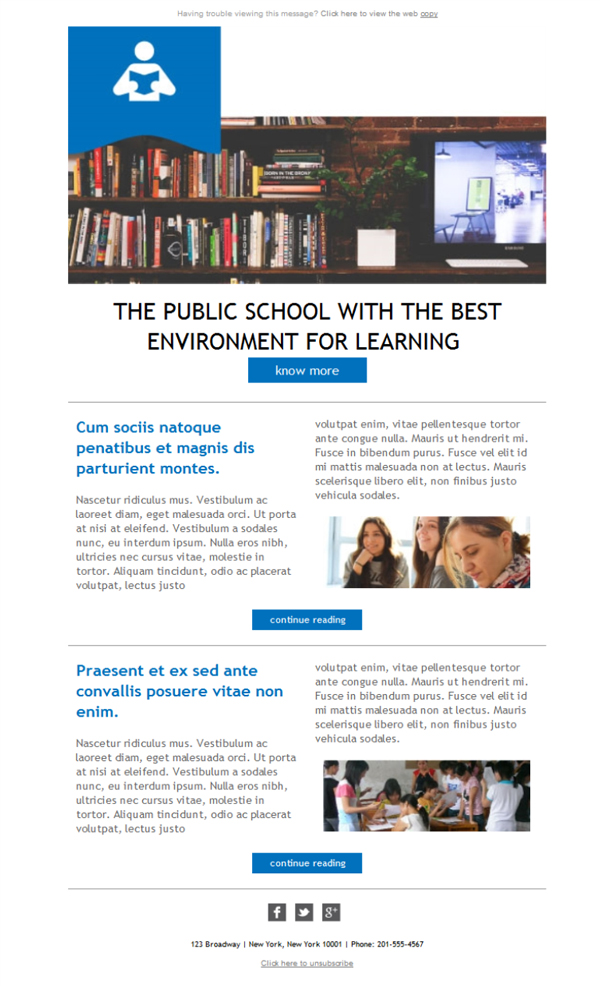 Templates Emailing School Learning News Sarbacane